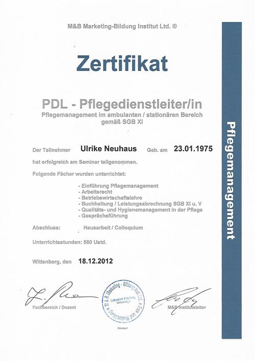 PDL-Schein Ulrike Neuhaus