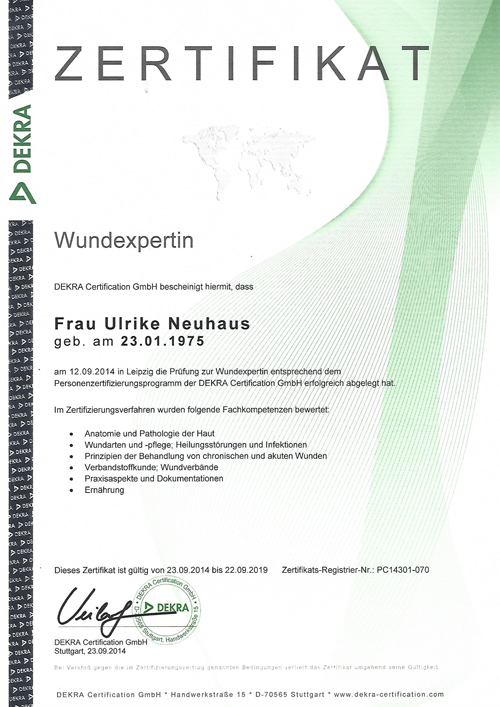 Zertifikat Wundexpertin Neuhaus